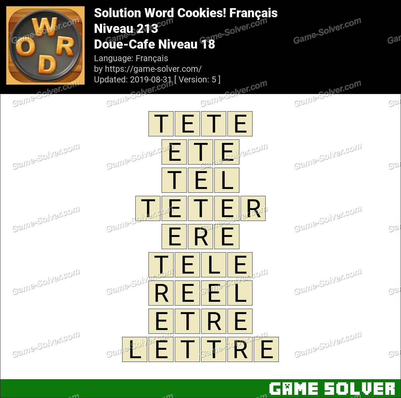 Solution Word Cookies Doue-Cafe Niveau 18
