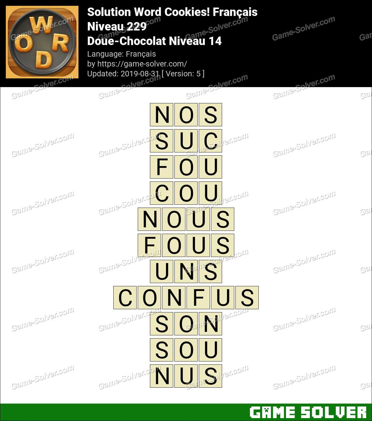 Solution Word Cookies Doue-Chocolat Niveau 14