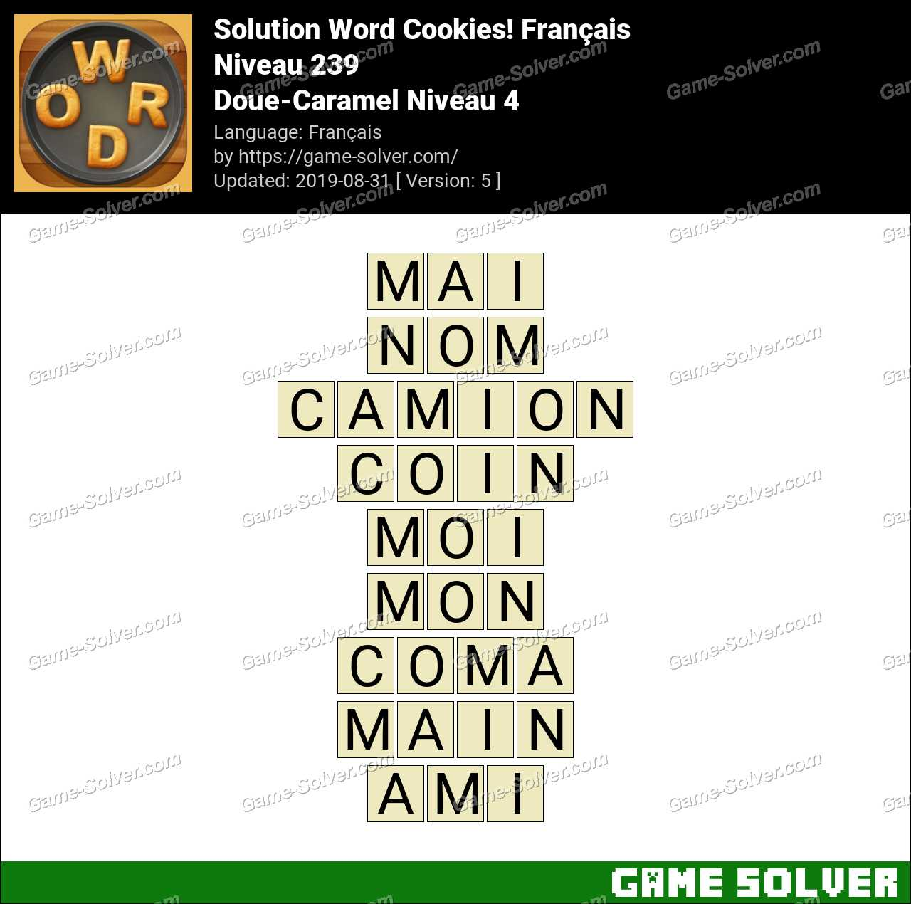 Solution Word Cookies Doue-Caramel Niveau 4