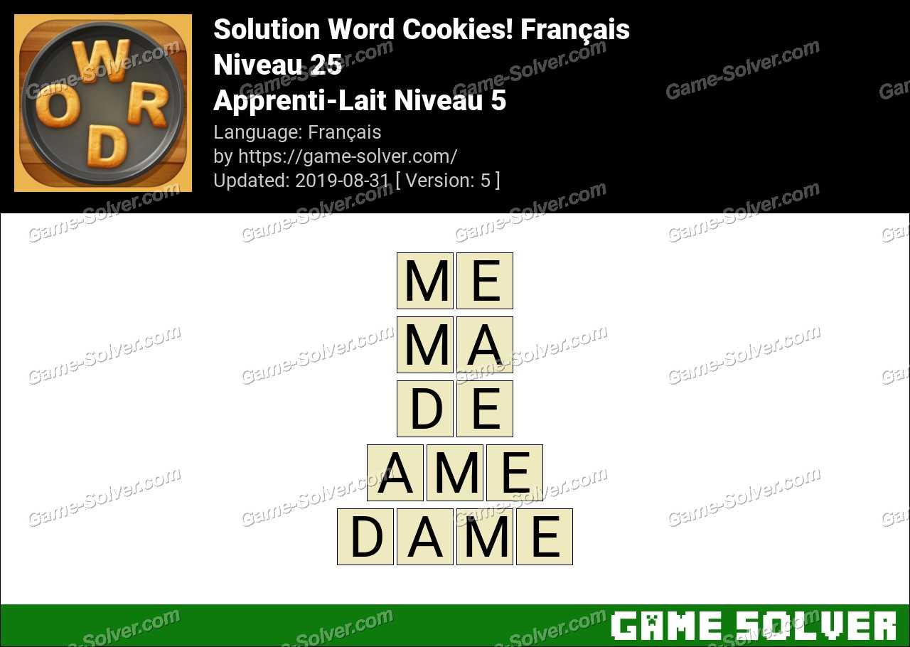 Solution Word Cookies Apprenti-Lait Niveau 5