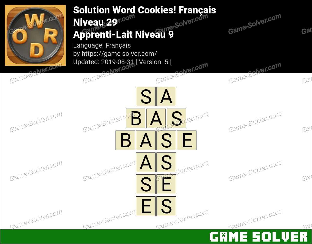 Solution Word Cookies Apprenti-Lait Niveau 9