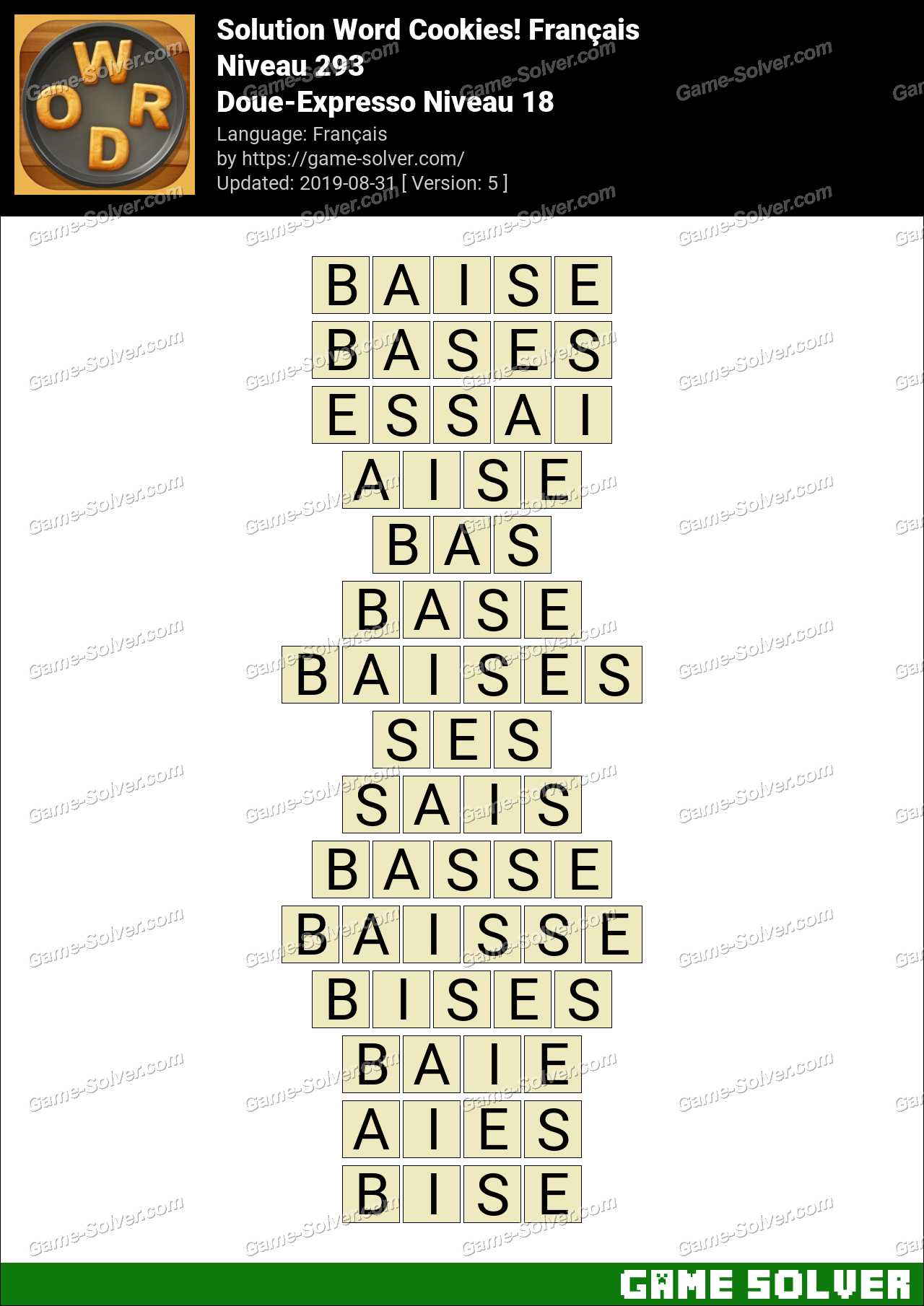 Solution Word Cookies Doue-Expresso Niveau 18