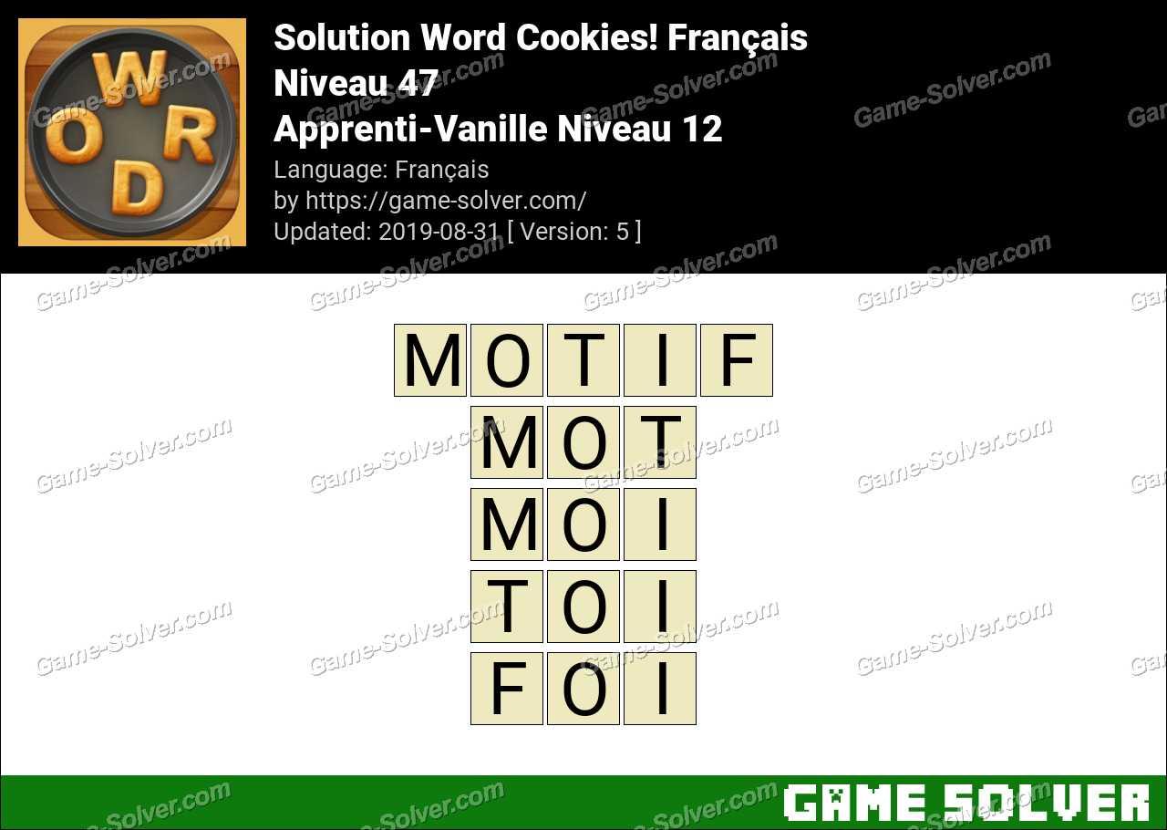 Solution Word Cookies Apprenti-Vanille Niveau 12