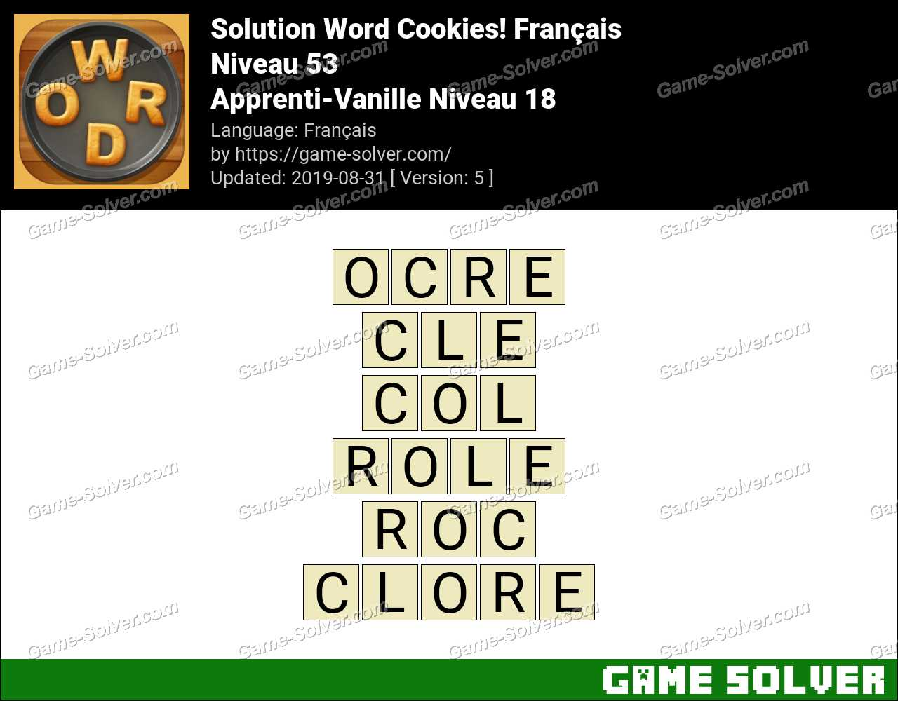 Solution Word Cookies Apprenti-Vanille Niveau 18