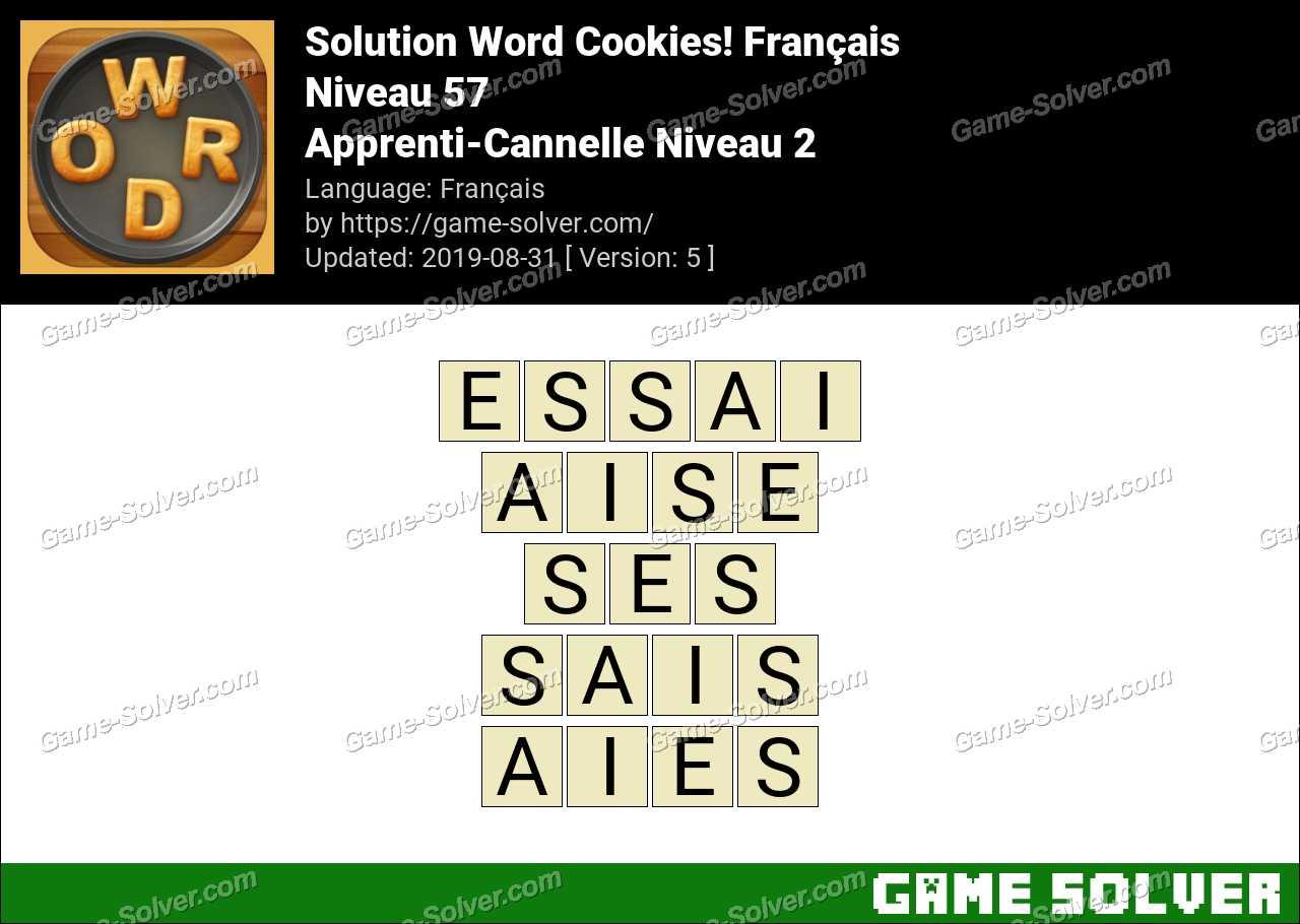 Solution Word Cookies Apprenti-Cannelle Niveau 2