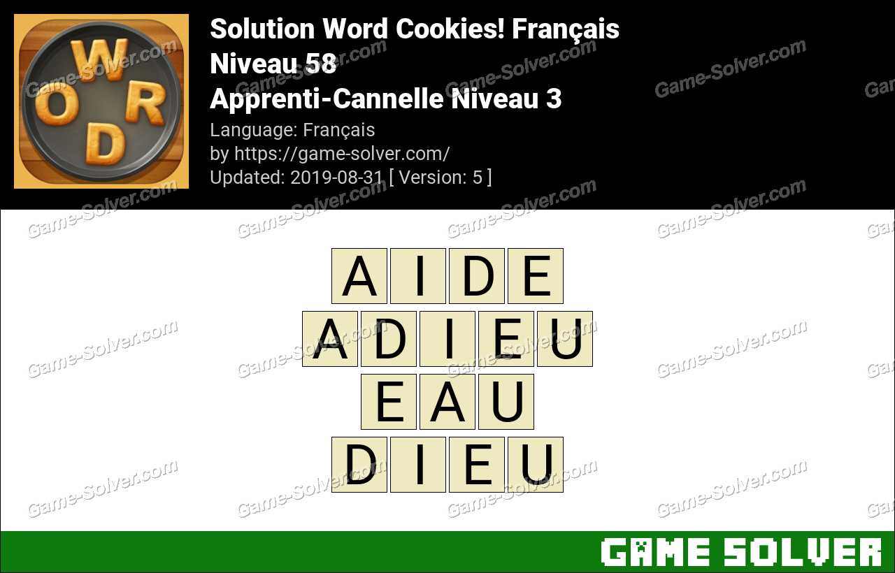Solution Word Cookies Apprenti-Cannelle Niveau 3