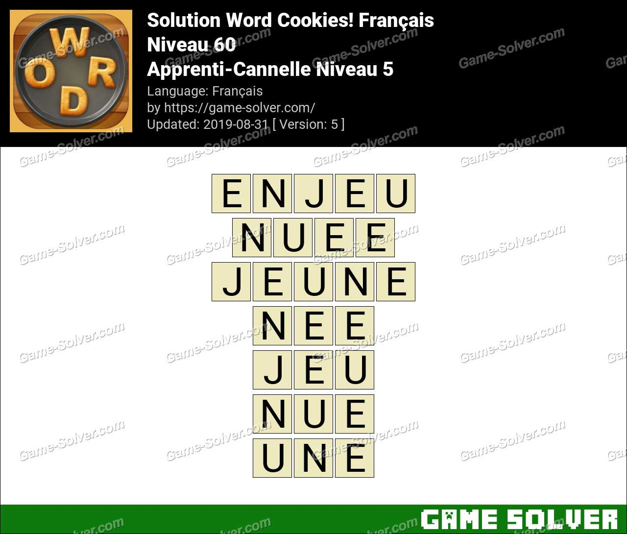 Solution Word Cookies Apprenti-Cannelle Niveau 5