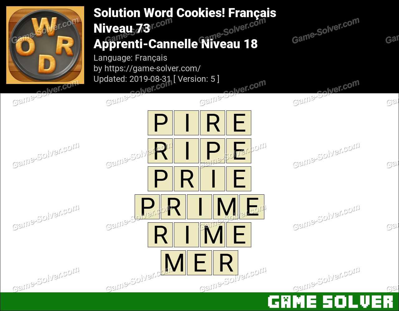 Solution Word Cookies Apprenti-Cannelle Niveau 18