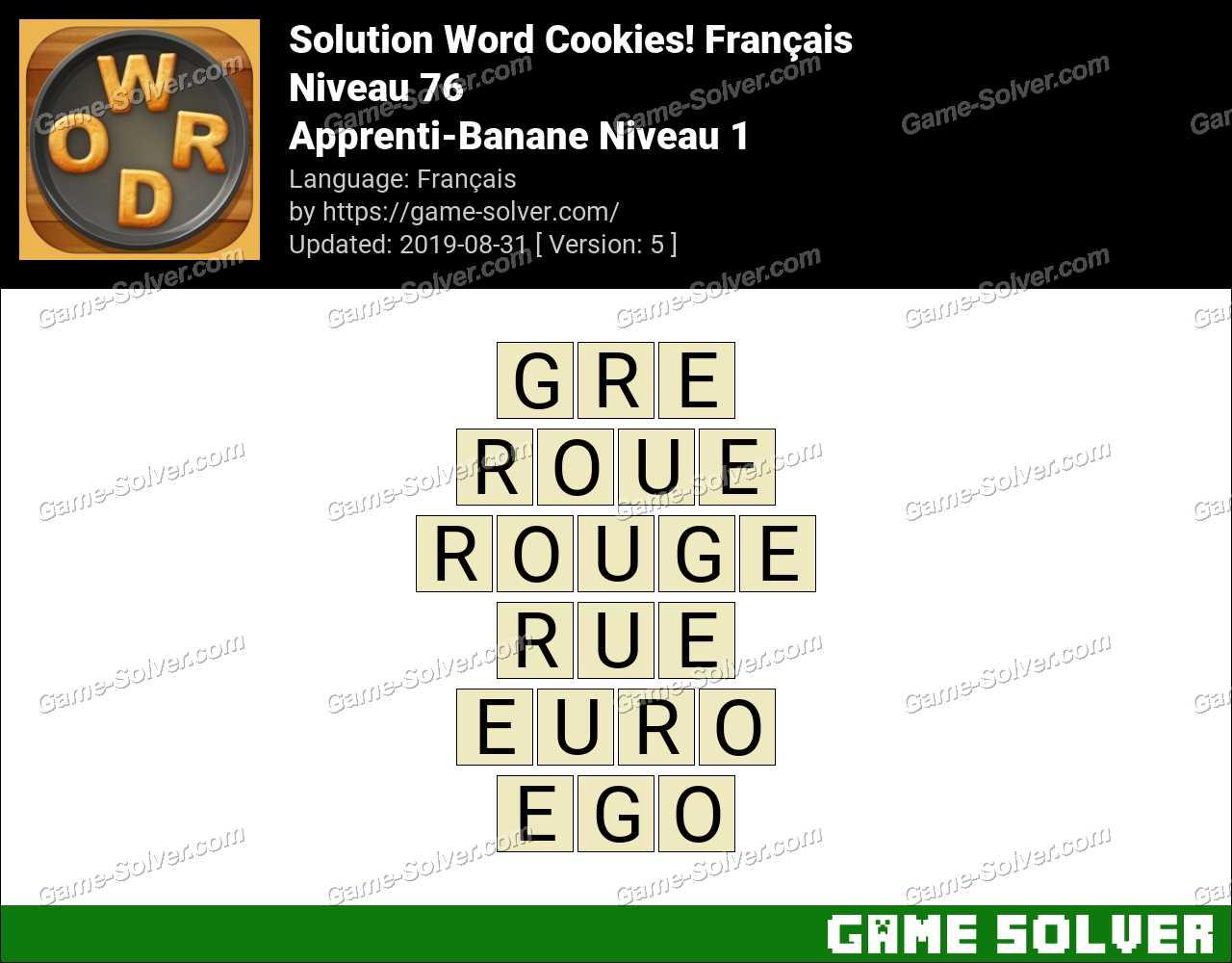 Solution Word Cookies Apprenti-Banane Niveau 1