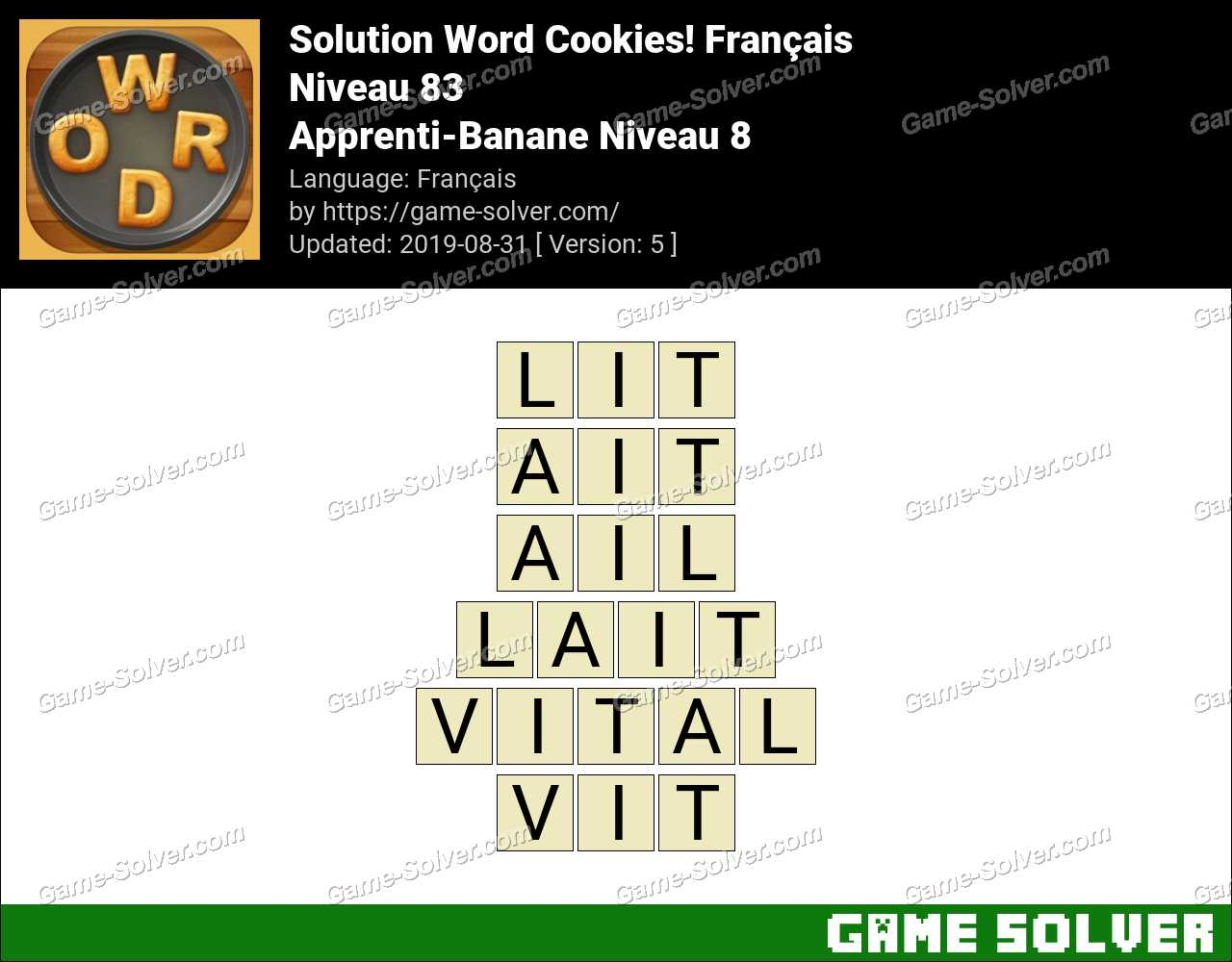Solution Word Cookies Apprenti-Banane Niveau 8