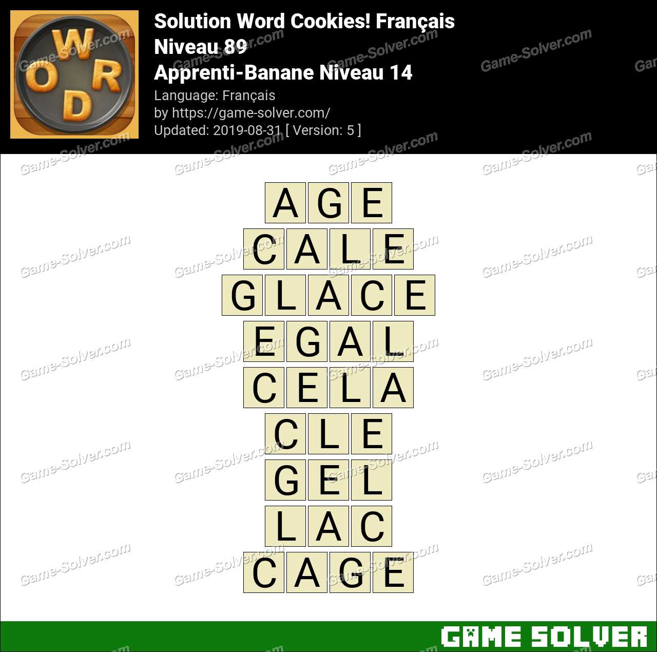 Solution Word Cookies Apprenti-Banane Niveau 14