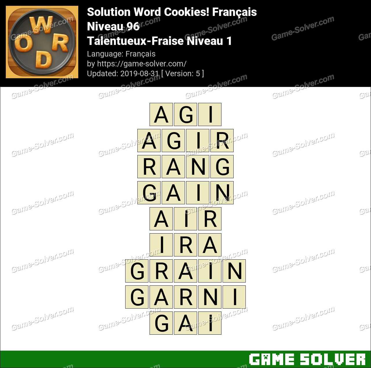 Solution Word Cookies Talentueux-Fraise Niveau 1