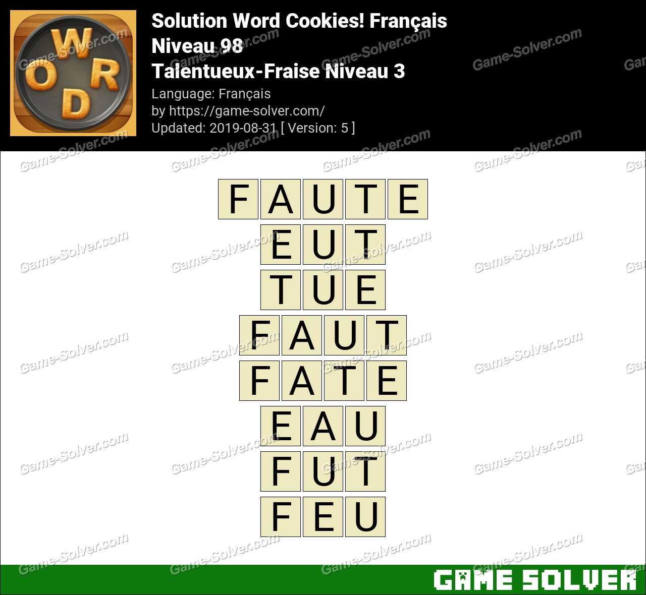 Solution Word Cookies Talentueux-Fraise Niveau 3