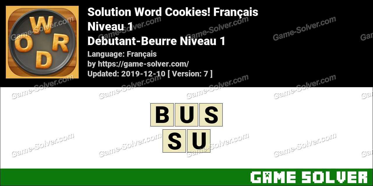 Solution Word Cookies Debutant-Beurre Niveau 1