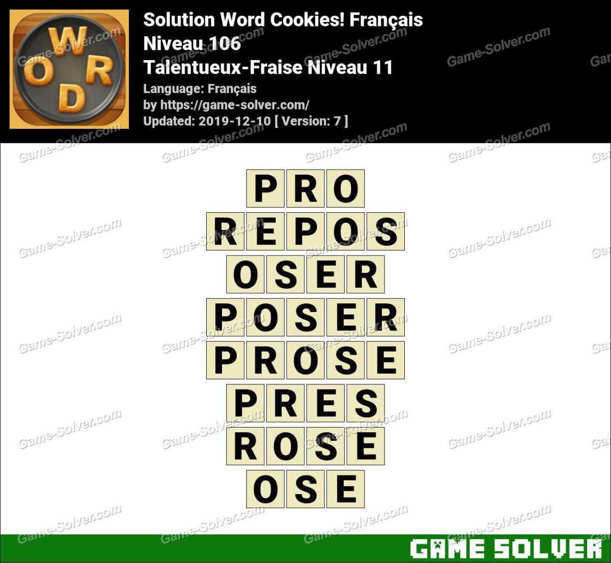 Solution Word Cookies Talentueux-Fraise Niveau 11