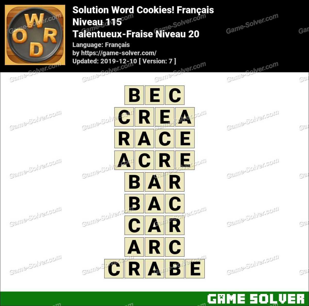 Solution Word Cookies Talentueux-Fraise Niveau 20