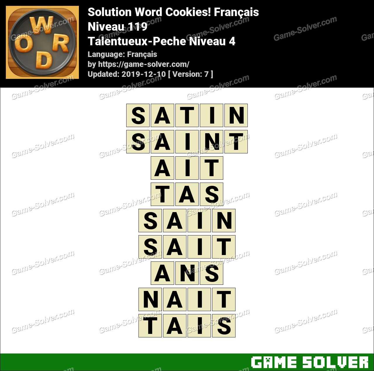 Solution Word Cookies Talentueux-Peche Niveau 4