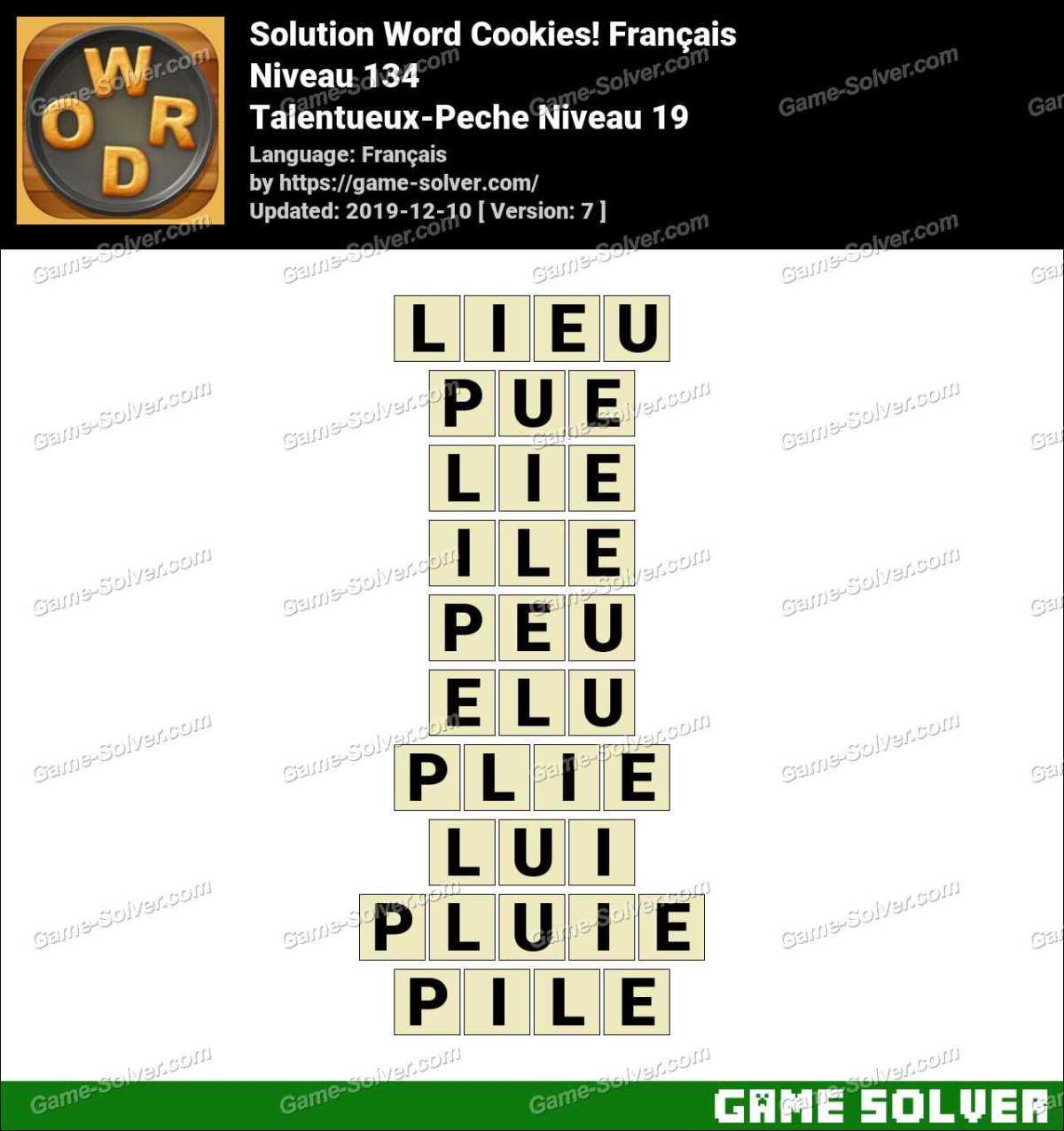Solution Word Cookies Talentueux-Peche Niveau 19