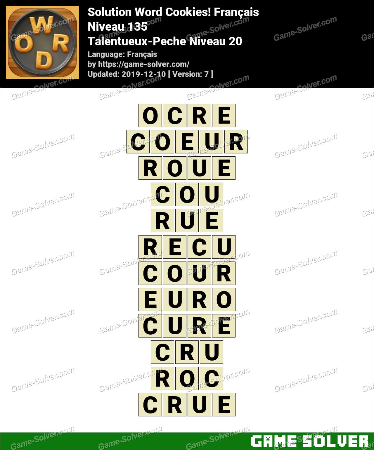 Solution Word Cookies Talentueux-Peche Niveau 20