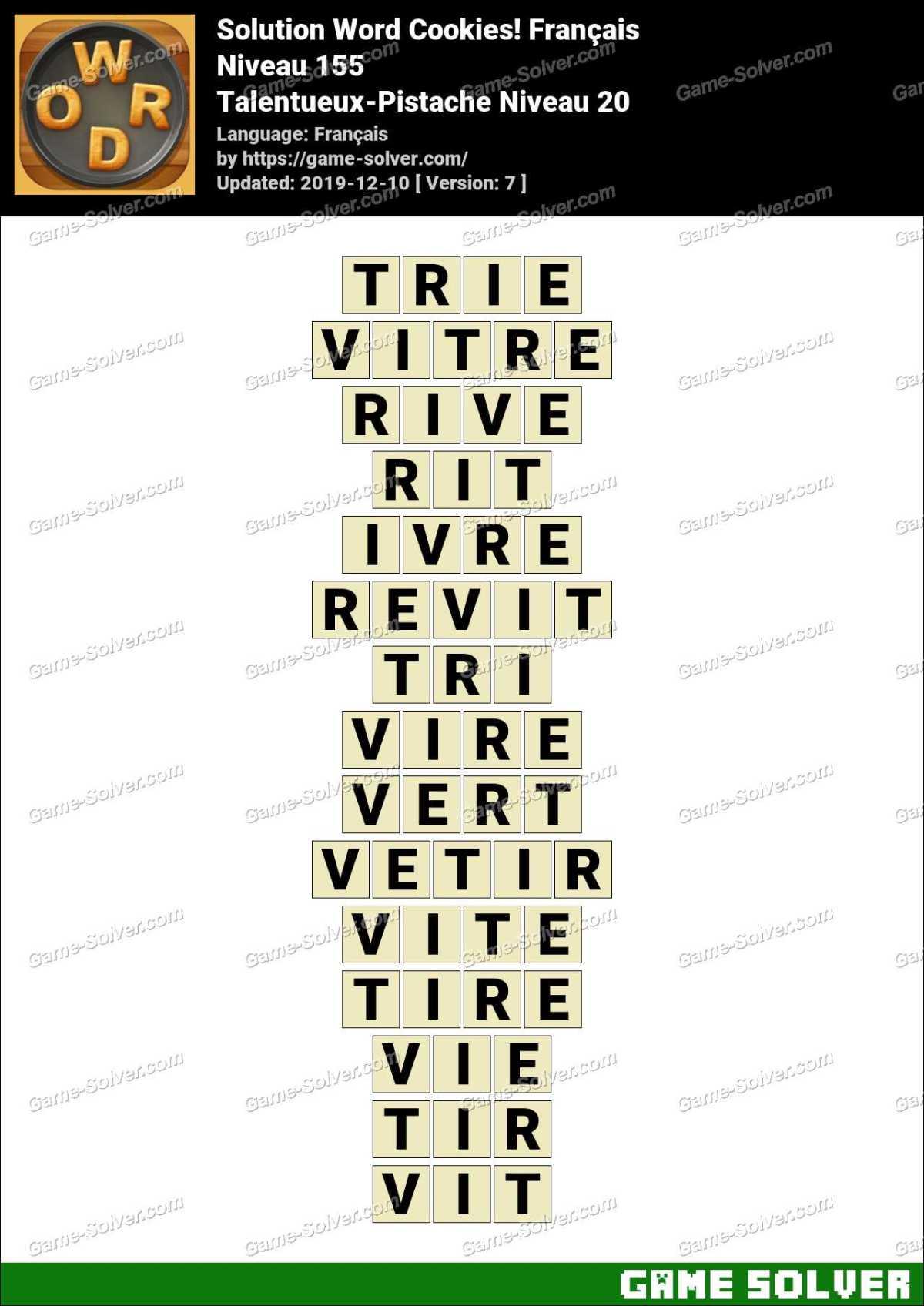 Solution Word Cookies Talentueux-Pistache Niveau 20