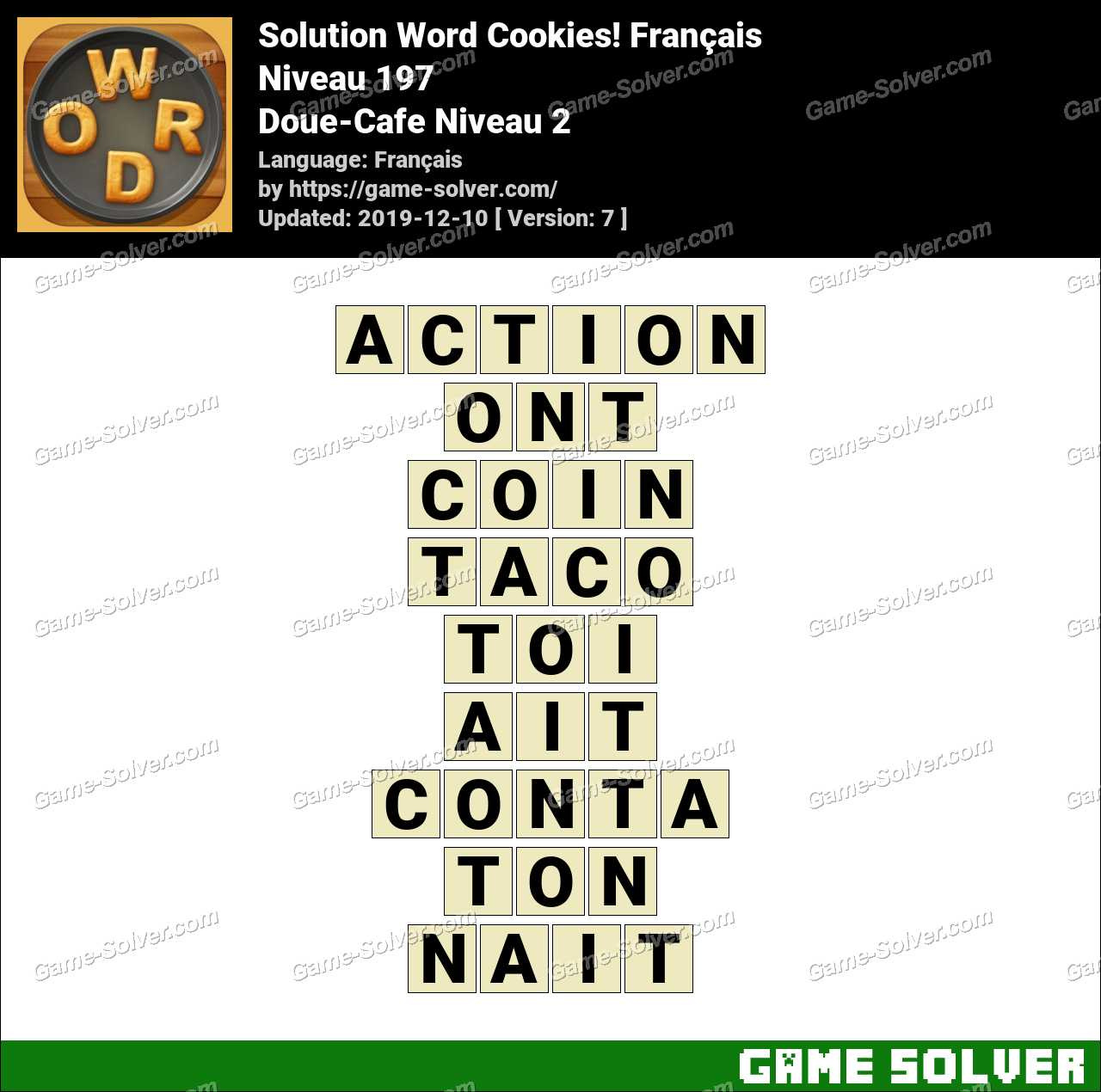Solution Word Cookies Doue-Cafe Niveau 2