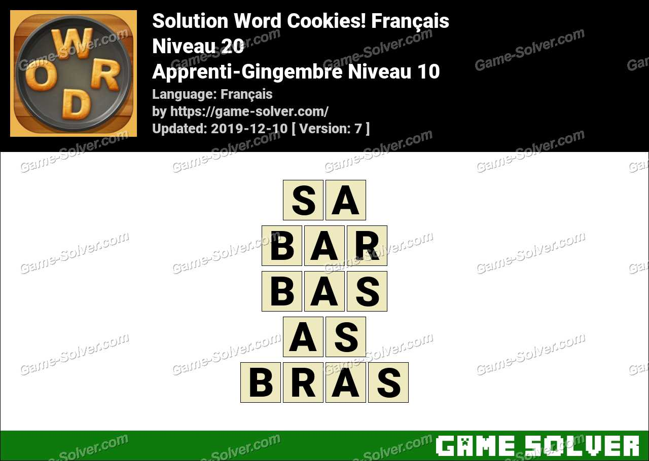 Solution Word Cookies Apprenti-Gingembre Niveau 10