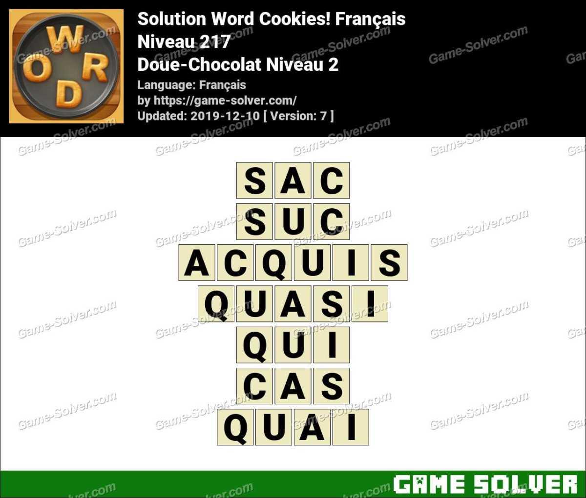Solution Word Cookies Doue-Chocolat Niveau 2