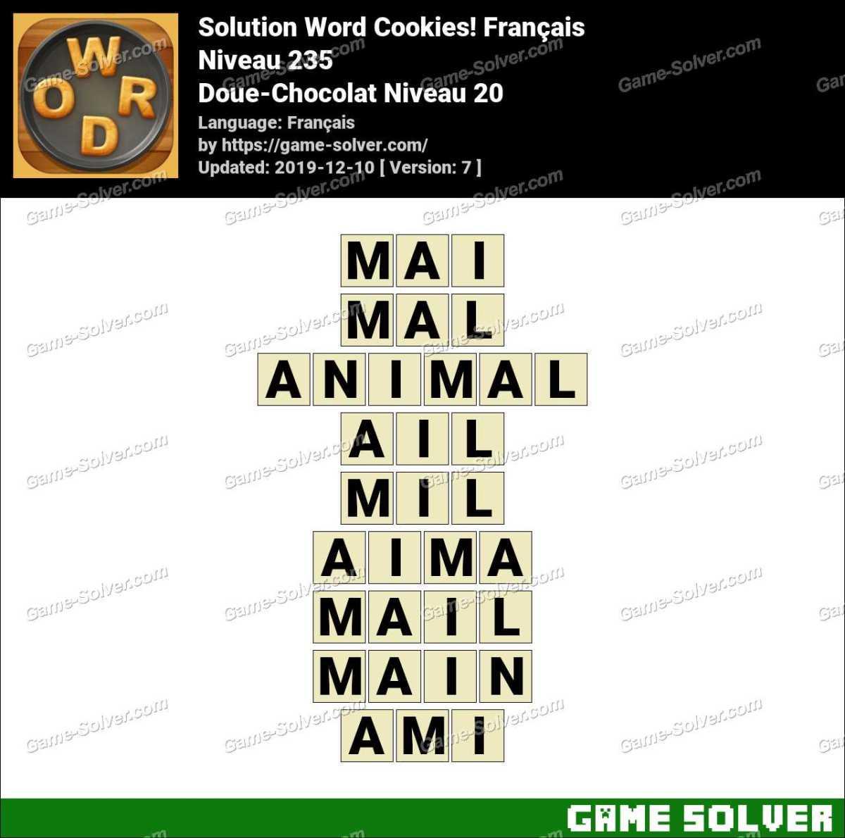 Solution Word Cookies Doue-Chocolat Niveau 20