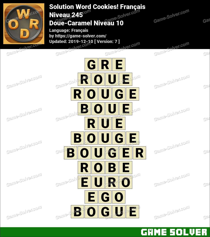 Solution Word Cookies Doue-Caramel Niveau 10