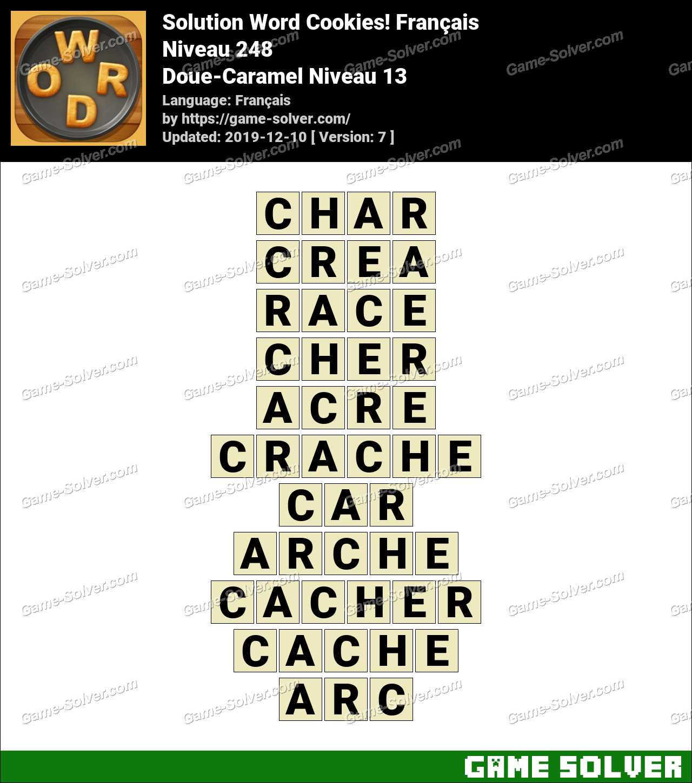 Solution Word Cookies Doue-Caramel Niveau 13