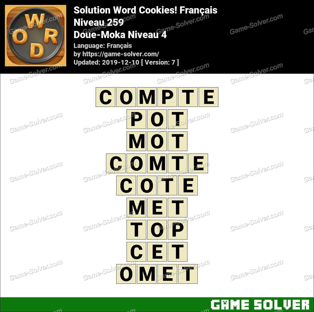 Solution Word Cookies Doue-Moka Niveau 4