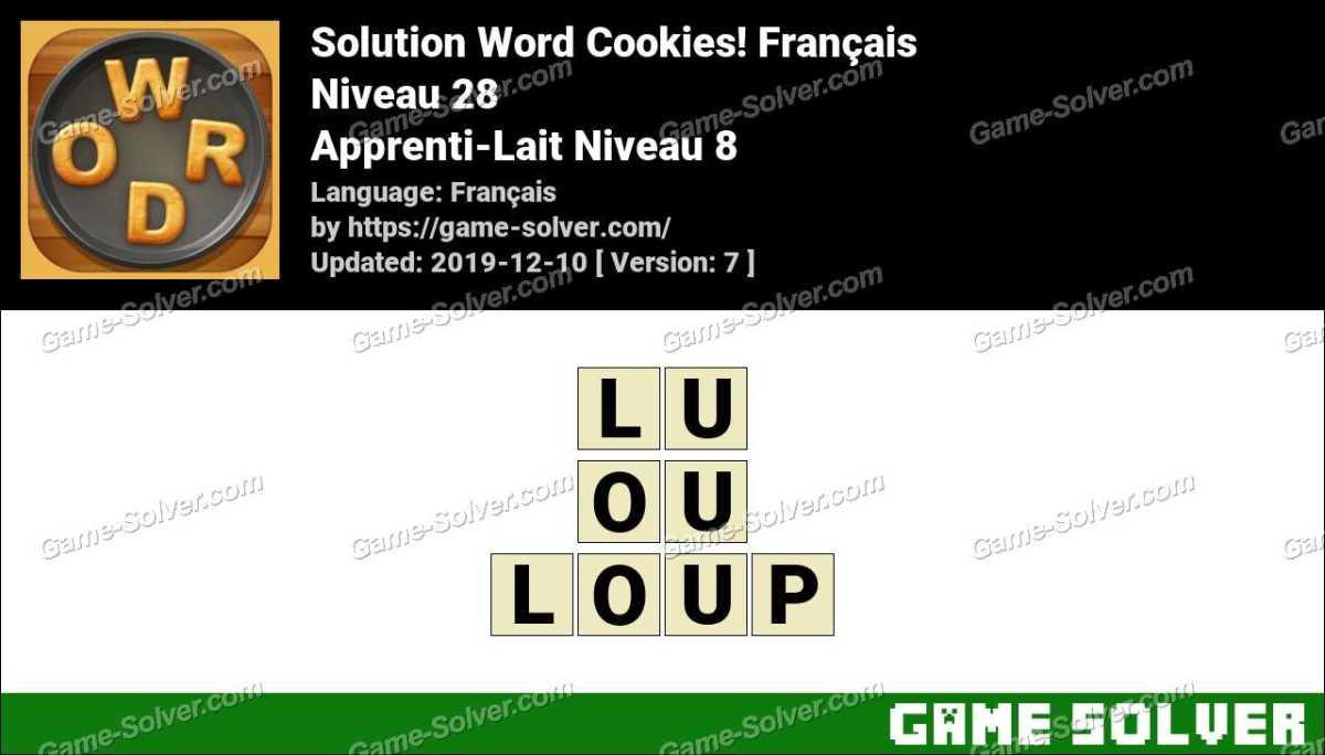 Solution Word Cookies Apprenti-Lait Niveau 8