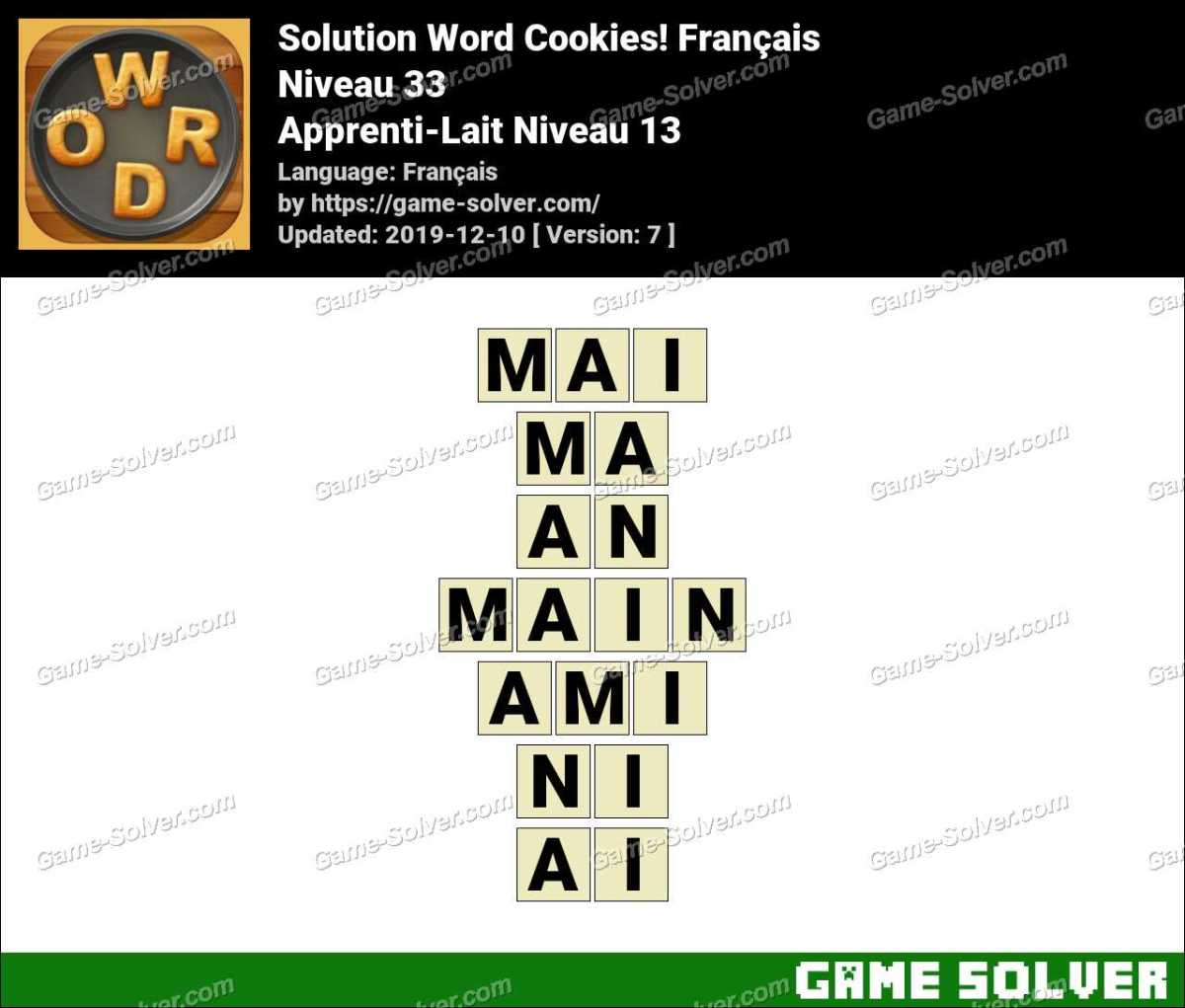 Solution Word Cookies Apprenti-Lait Niveau 13
