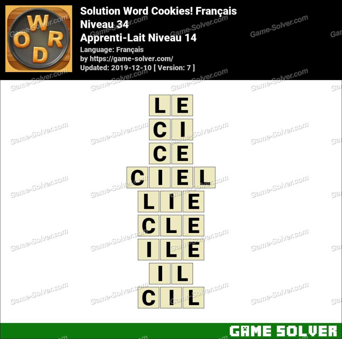 Solution Word Cookies Apprenti-Lait Niveau 14