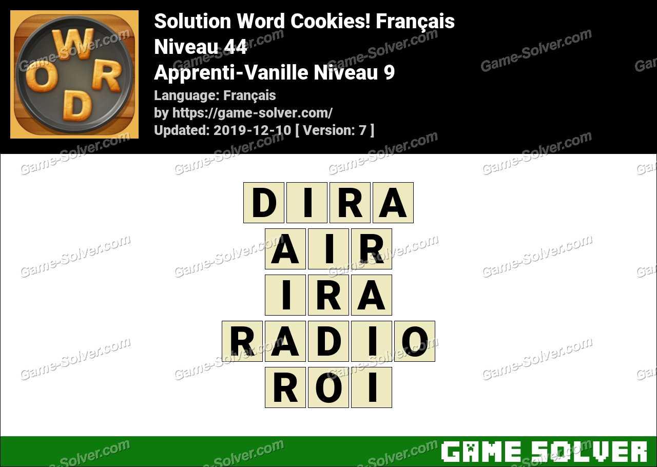 Solution Word Cookies Apprenti-Vanille Niveau 9