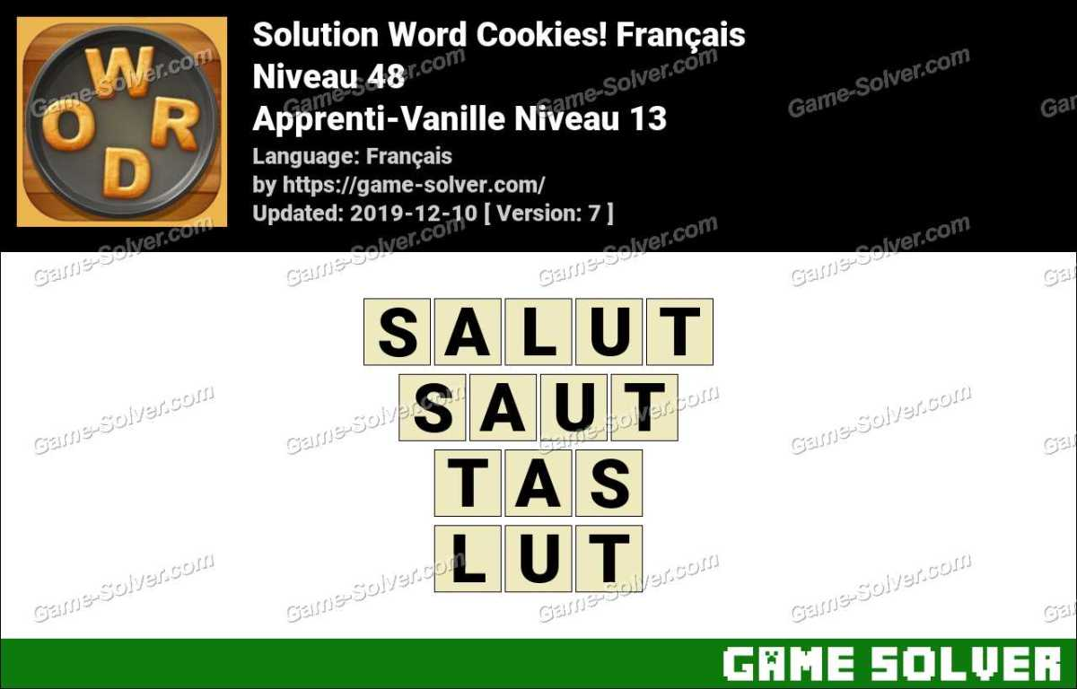 Solution Word Cookies Apprenti-Vanille Niveau 13