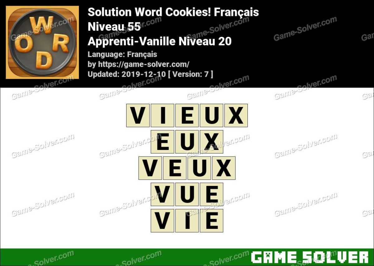 Solution Word Cookies Apprenti-Vanille Niveau 20