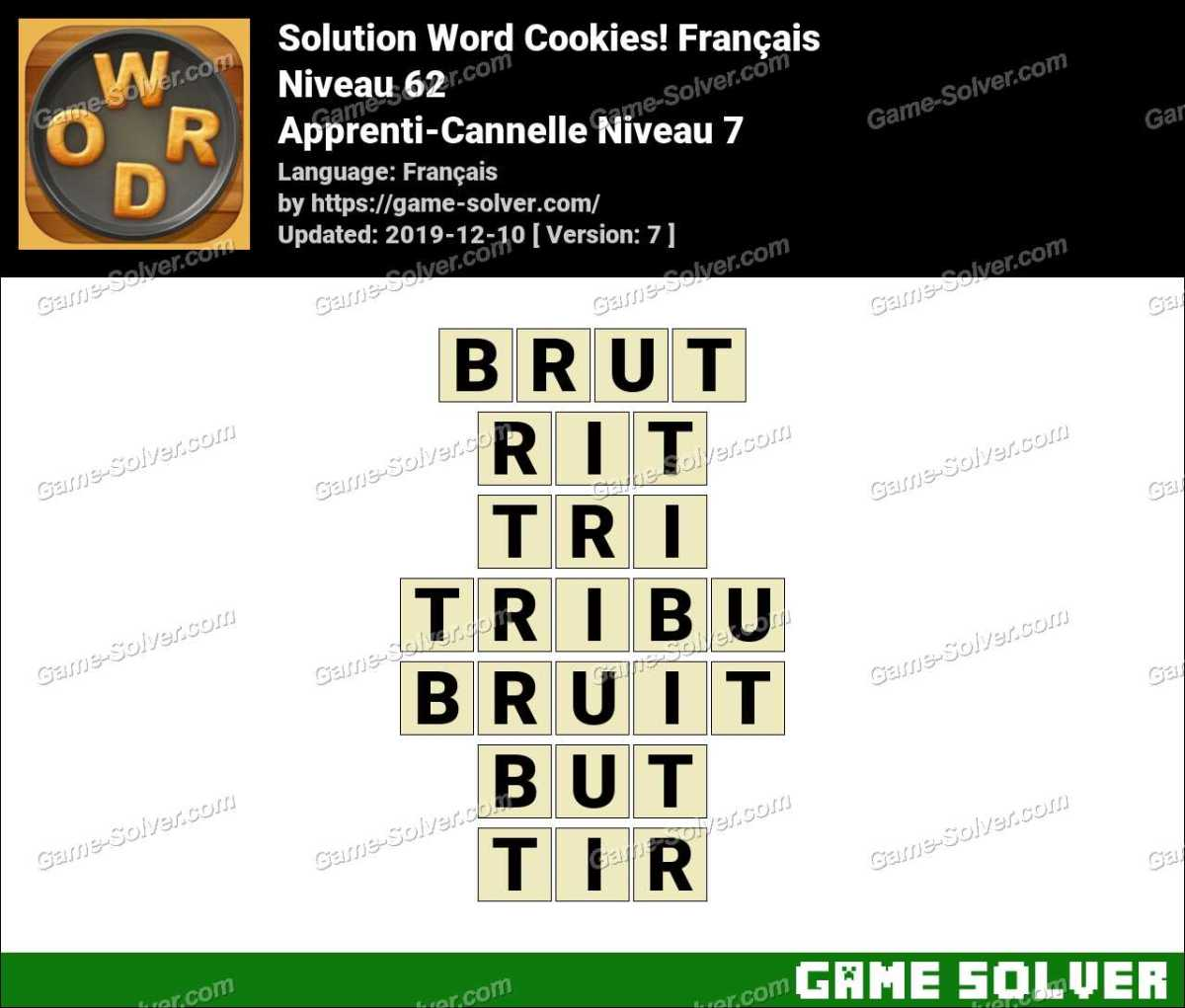 Solution Word Cookies Apprenti-Cannelle Niveau 7