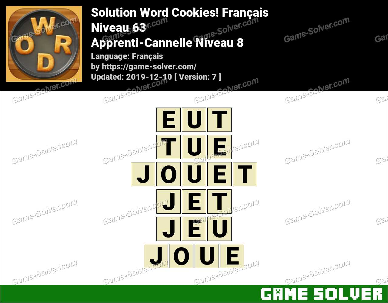 Solution Word Cookies Apprenti-Cannelle Niveau 8
