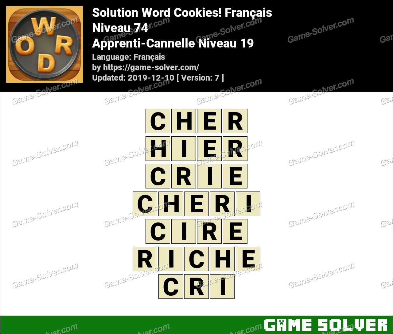 Solution Word Cookies Apprenti-Cannelle Niveau 19