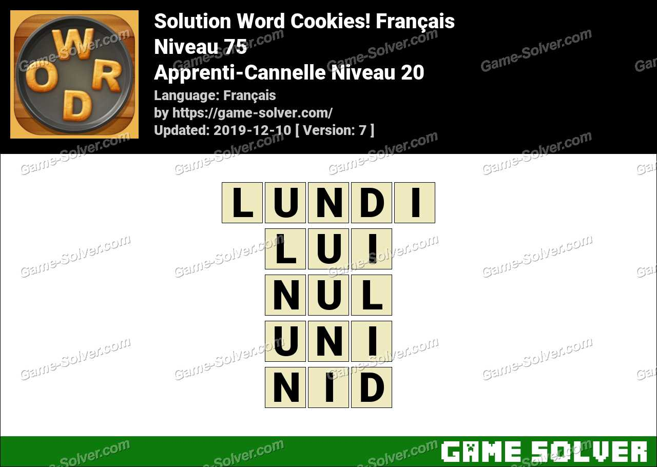 Solution Word Cookies Apprenti-Cannelle Niveau 20
