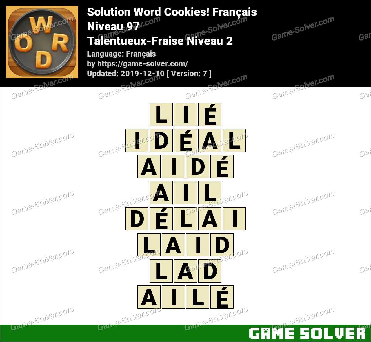 Solution Word Cookies Talentueux-Fraise Niveau 2