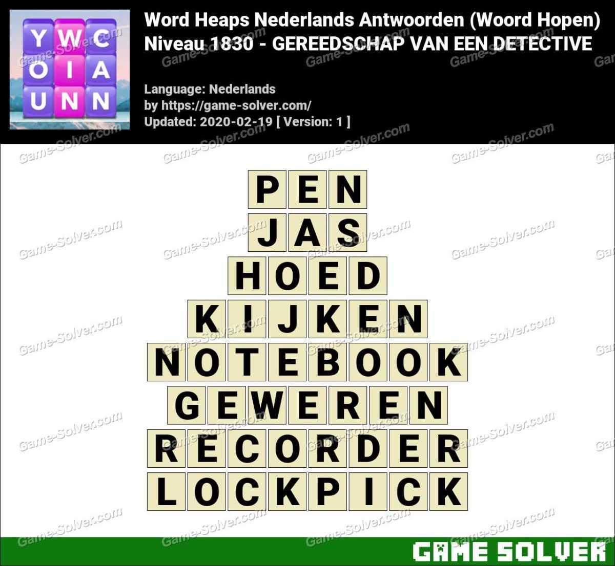 Woord Hopen Niveau 1830 -GEREEDSCHAP VAN EEN DETECTIVE