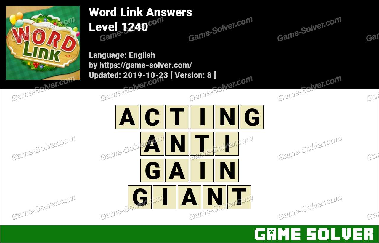 Word Link Level 1240 Answers
