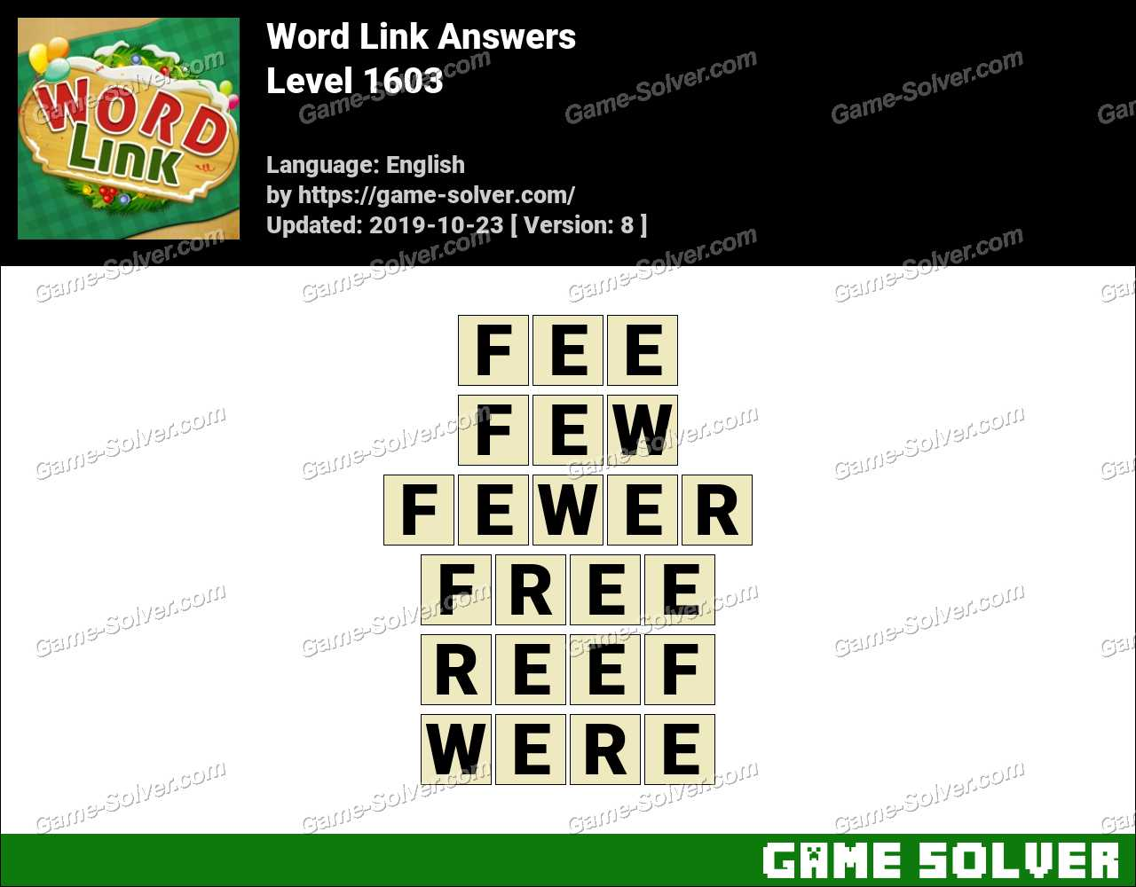 Word Link Level 1603 Answers