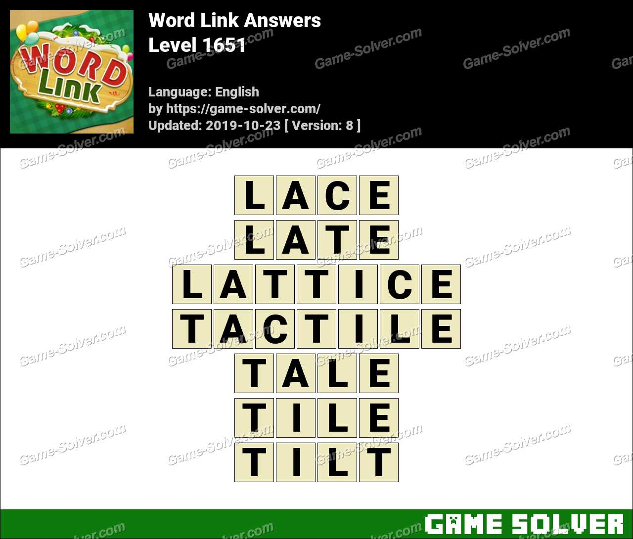 Word Link Level 1651 Answers