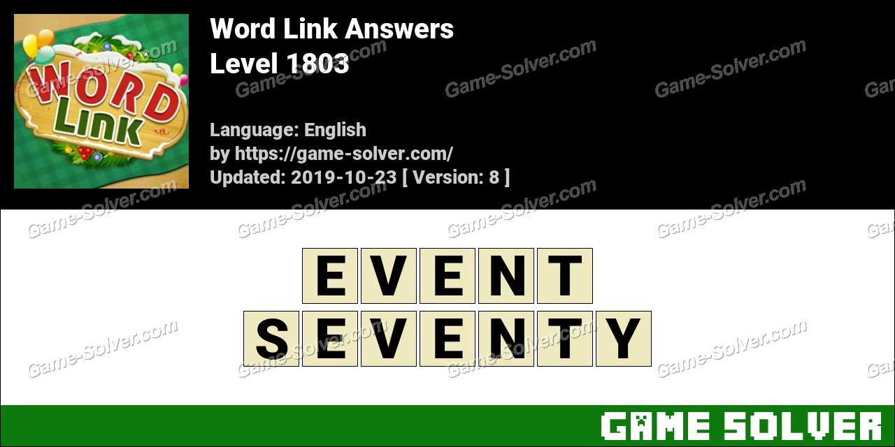 Word Link Level 1803 Answers