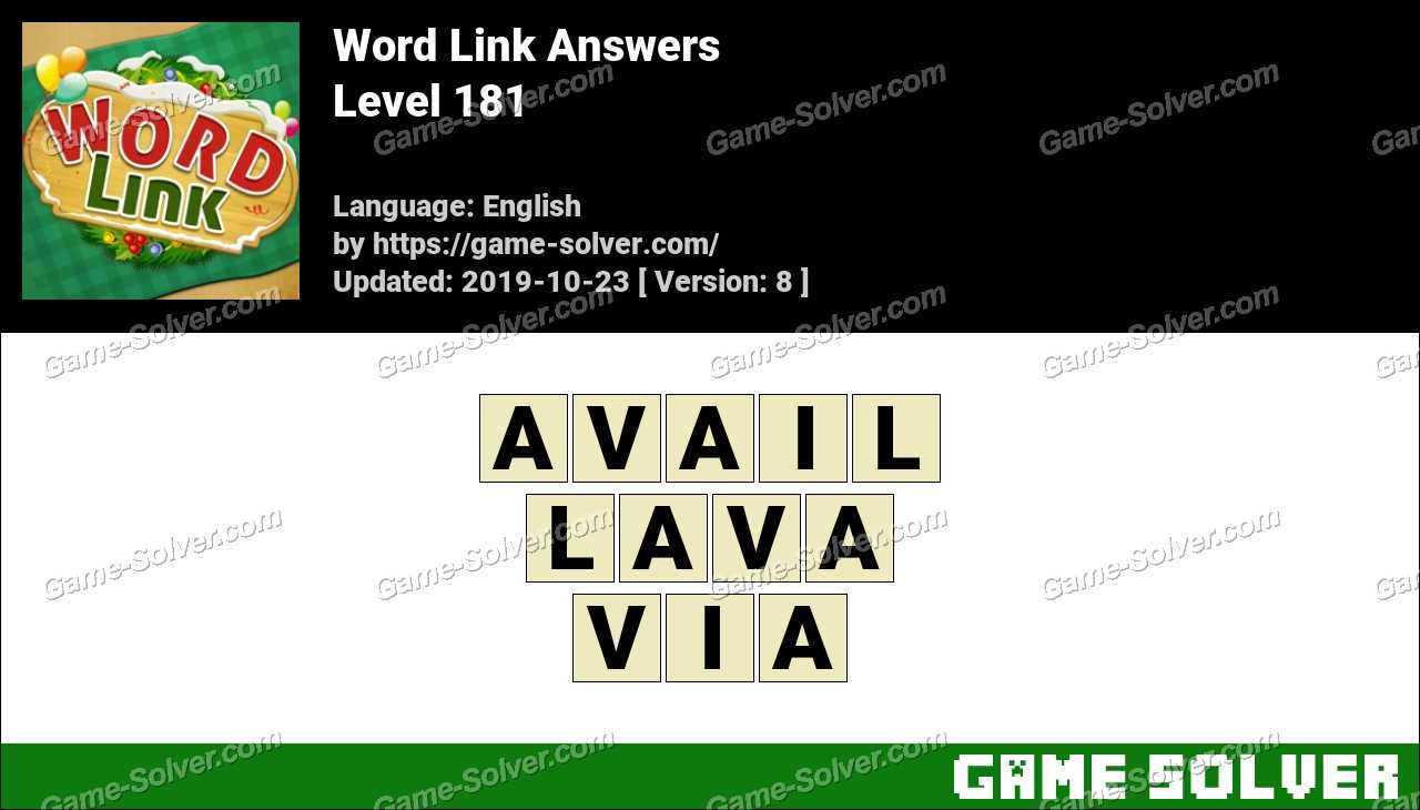 Word Link Level 181 Answers