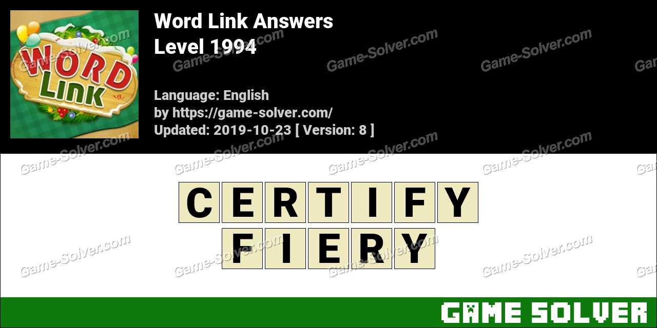 Word Link Level 1994 Answers