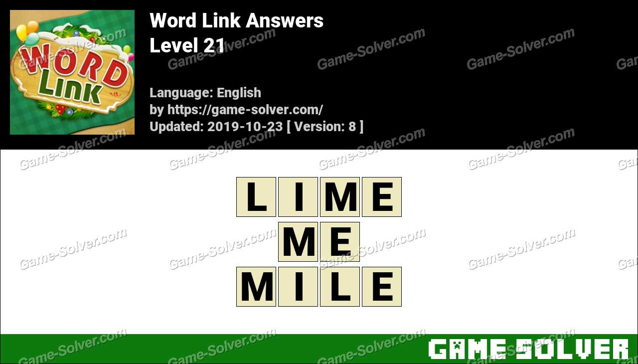 Word Link Level 21 Answers